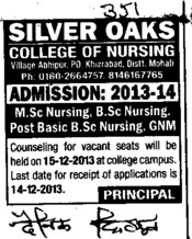 Post Basic BSc Nursing (Silver Oaks College of Nursing)