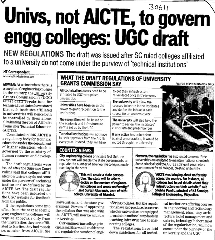 Univs, not AICTE to govern engg colleges (University Grants Commission (UGC))