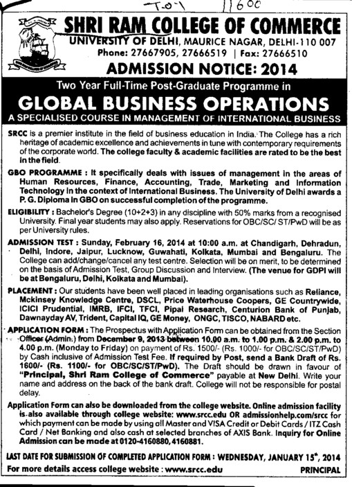 PGP in Global Business Operations (Shri Ram College of Commerce)