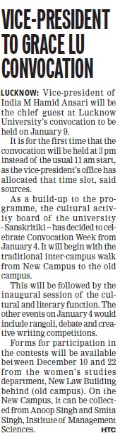 Vice President to grace LU convocation (Lucknow University)