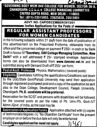 Asstt Professor for Physics and Maths (MCM DAV College for Women)