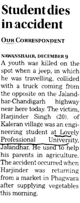 Student dies in accident (Lovely Professional University LPU)
