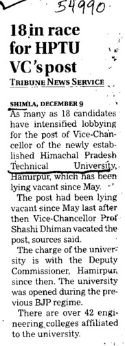 18 in race for HPTU VCs post (Himachal Pradesh Technical University HPTU)