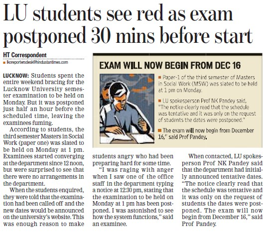 LU student see red as exam postponed 30 mins before start (Lucknow University)