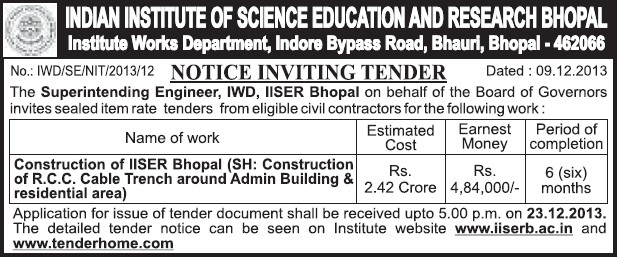 Construction of RCC cable trench (Indian Institute of Science Education and Research (IISER))