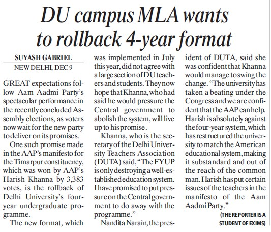 DU campus MLA wants to rollback 4 year format (Delhi University)
