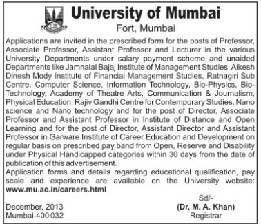 Asstt Professor and Lecturer (University of Mumbai (UoM))
