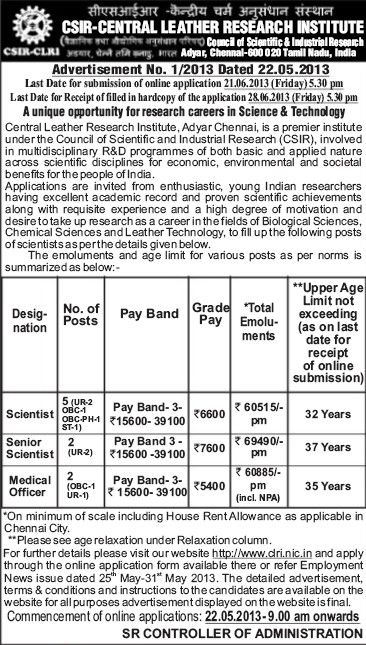 Sr Scientist and Medical Officer (Central Leather Research Institute)