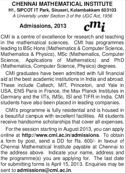 PhD in Maths and Science (Chennai Mathematical Institute Deemed University)