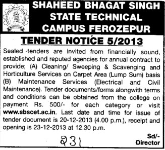 Maintenance services (Shaheed Bhagat Singh State (SBBS) Technical Campus)