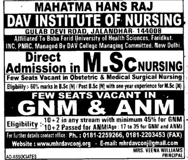 MSc Nursing course (Mahatma Hans Raj DAV Institute of Nursing)