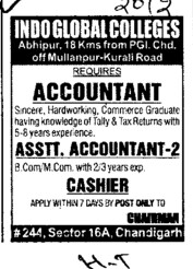Accountant and Asstt Professor (Indo Global Group of Colleges)