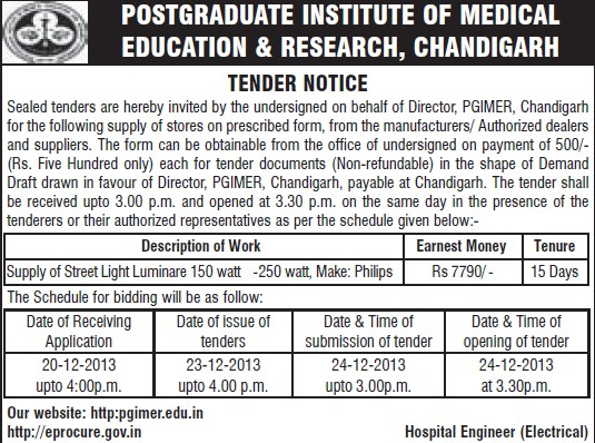 Supply of street light luminare (Post-Graduate Institute of Medical Education and Research (PGIMER))