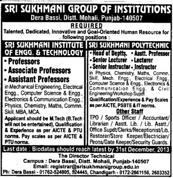 Senior Lecturer and Instructor (Sri Sukhmani Group of Institutes)