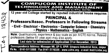 Asstt Professor for Electrical Engineer (Compucom Institute of Information Technology and Management (CIITM))