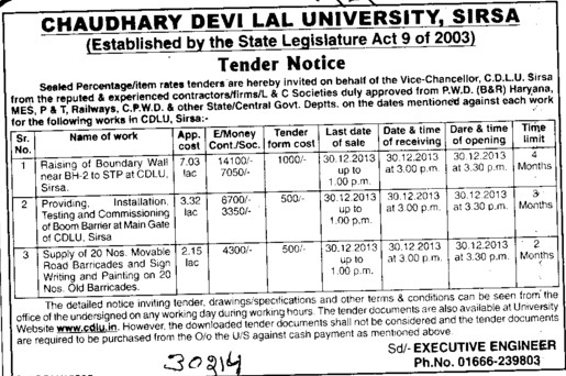 Construction of Boundary wall (Chaudhary Devi Lal University CDLU)