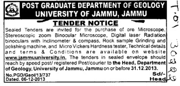 Purchase of ore microscope stereoscopic zoom binocular microscope (Jammu University)