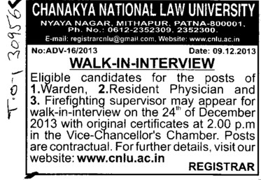 Warden and Resident Physician (Chanakya National Law University (CNLU))
