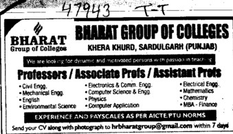 Asstt Professor in EE (Bharat Group of Institutions)