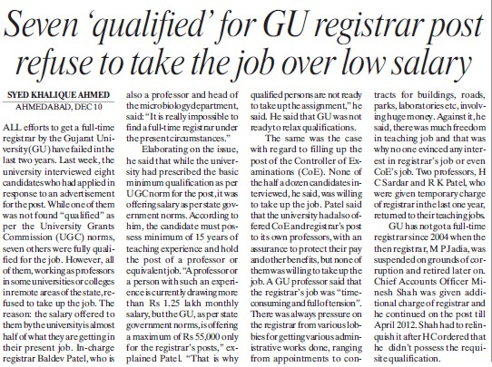 Registrar post refuse to take job over low salary (Gujarat University)
