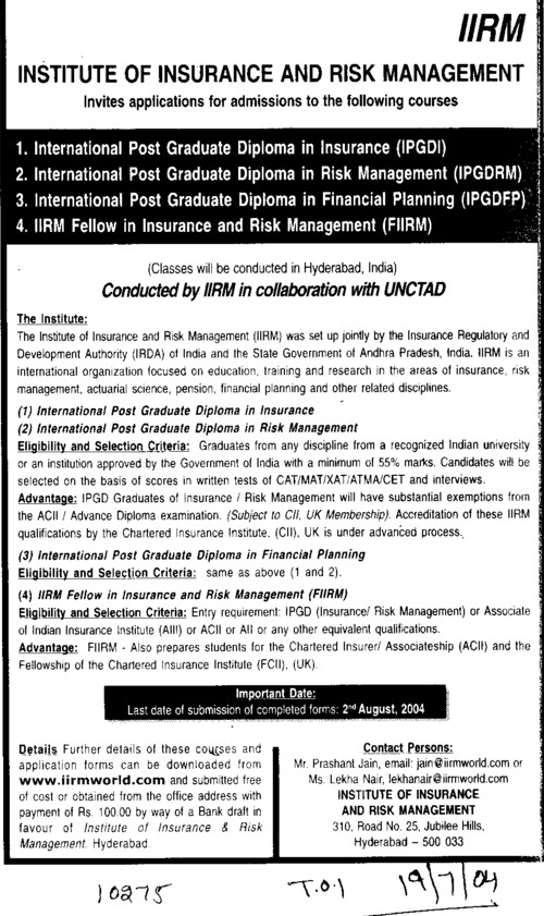 institute of insurance and risk management iirm hyderabad telangana international post graduate diploma in risk management