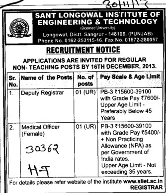 Deputy Registrar and Medical Officer (Sant Longowal Institute of Engineering and Technology SLIET)