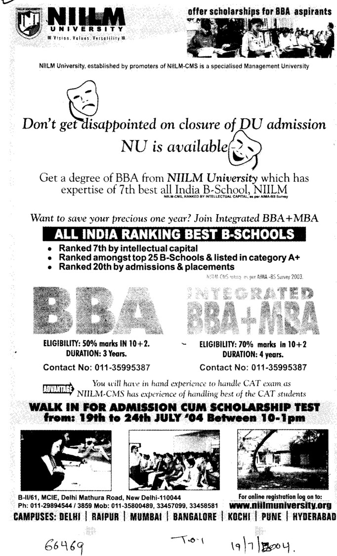 BBA and MBA (NIILM University)