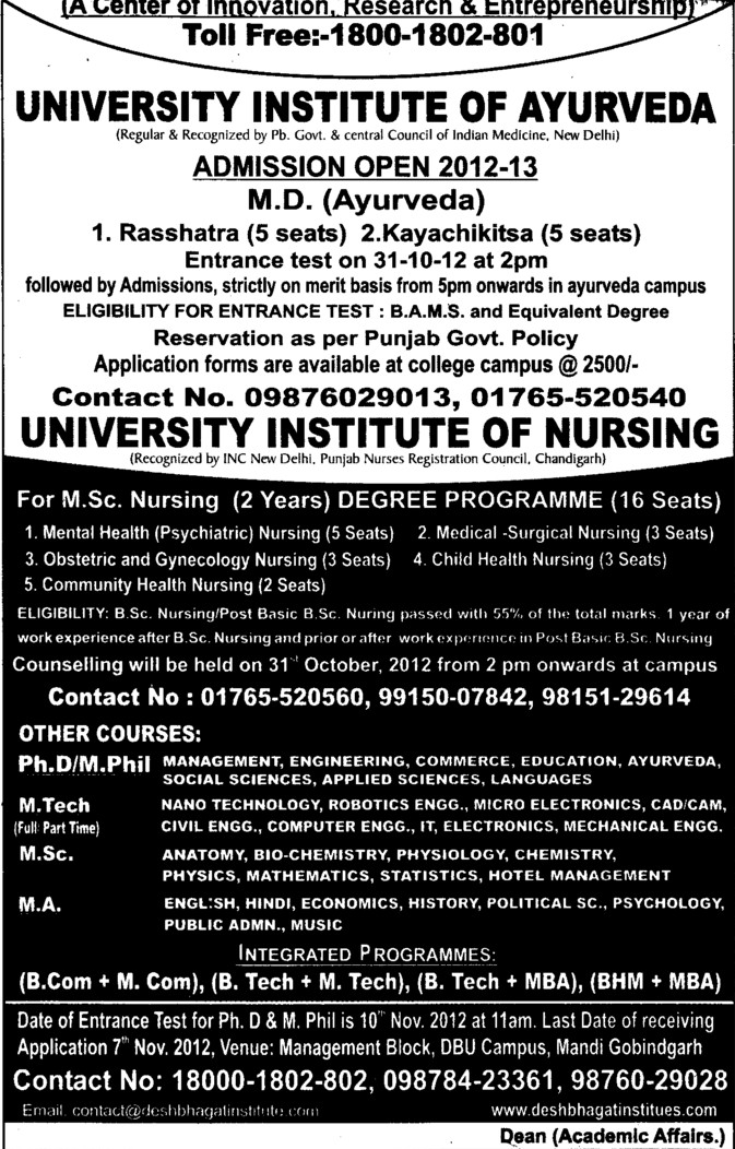 MSc Nursing (Desh Bhagat University)