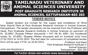 Installation of wind solar hybrid plant (Tamil Nadu Veterinary And Animal Sciences University TANUVAS)