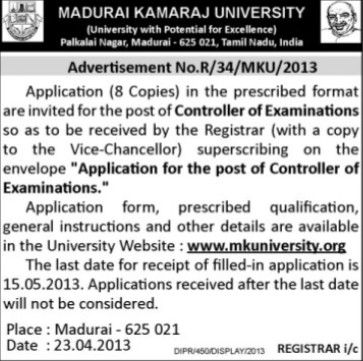 Controller of Examinations (Madurai Kamaraj University)
