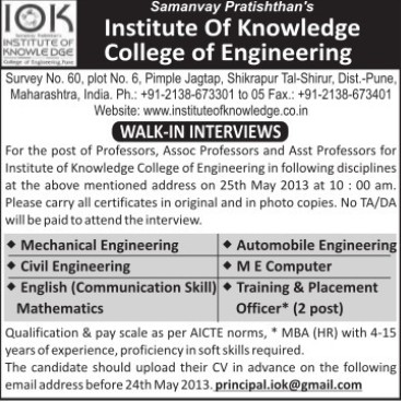 Asstt Professor in ME and Civil (Institute of Knowledge College of Engineering)