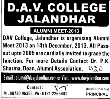 Alumni Meet 2013 (DAV College)
