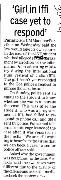 Girl in iffi case yet to respond (Jawaharlal Nehru University)