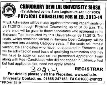 Physical Counselling for M Ed (Chaudhary Devi Lal University CDLU)
