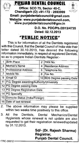 Registration of Dentists (Punjab Dental Council)