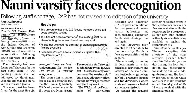 Nauni Varsity faces derecognition (Dr Yashwant Singh Parmar University of Horticulture and Forestry)