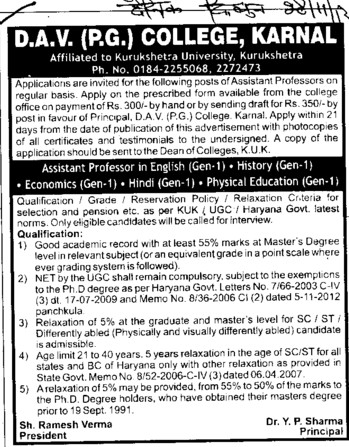 Asstt Professor in History and Education (DAV College)