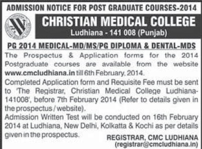 MD MS and PG Diploma (Christian Medical College and Hospital (CMC))