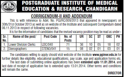 Lower division clerks (Post-Graduate Institute of Medical Education and Research (PGIMER))