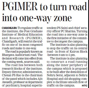 PGIMER to turn road into one way zone (Post-Graduate Institute of Medical Education and Research (PGIMER))