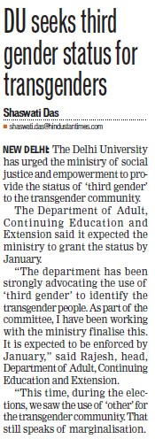 DU seeks third gender status for transgenders (Delhi University)