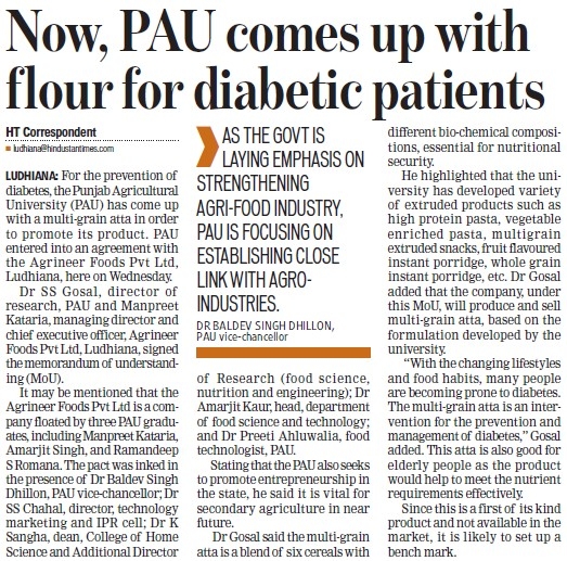 PAU comes up with flour for diabetic patients (Punjab Agricultural University PAU)