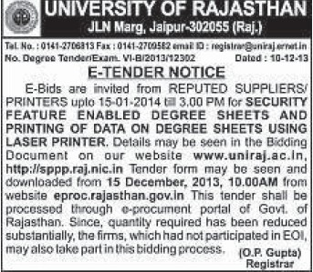 Supply of Printers (University of Rajasthan)