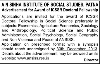 Award of ICSSR Doctoral Fellowship (AN Sinha Institute of Social Sciences ANSISS)