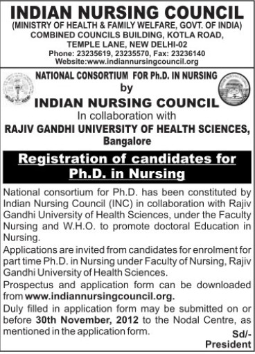 Students registration for PhD admissions (Indian Nursing Council (INC))