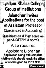 Asstt Professor in Accounting (Lyallpur Khalsa College of Boys)