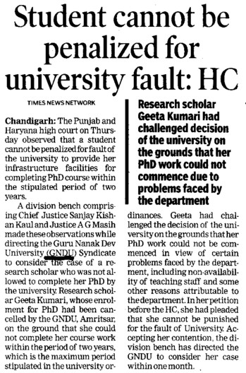 Students cannot be penalized for university fault, HC (Guru Nanak Dev University (GNDU))