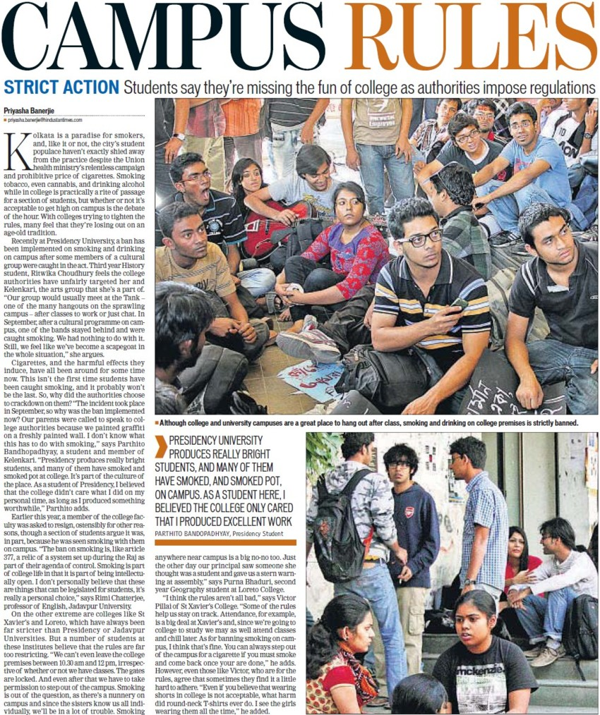 Students missing the fun of college as authoritries impose regulations (Presidency University)