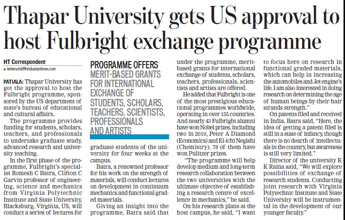 TU gets US approval to host Fulbright Exchange Programme (Thapar University)
