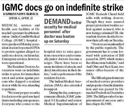 IGMC docs go on indefinite strike (Indira Gandhi Medical College (IGMC))